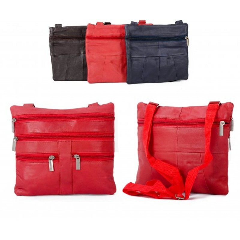 907 RED LEATHER/PU CROSSBAG