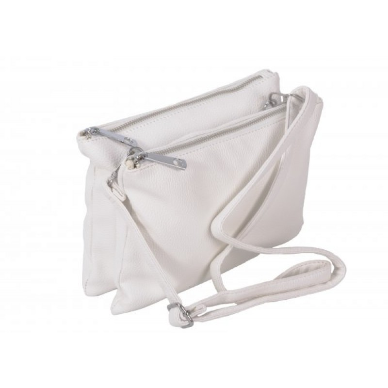 JBFB245 WHITE PU DOUBLE COMPARTMENT CROSSBAG