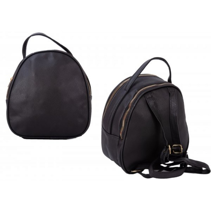JBFB281 BLACK PU ROUND BACKPACK W/ 2 COMPARTMENTS