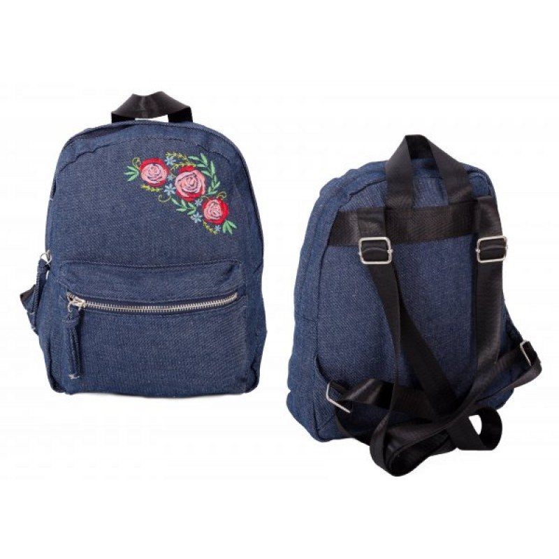 JBCB202-NAVY DENIM ROSE BACKPACK W/ TWO COMPARTMENTS