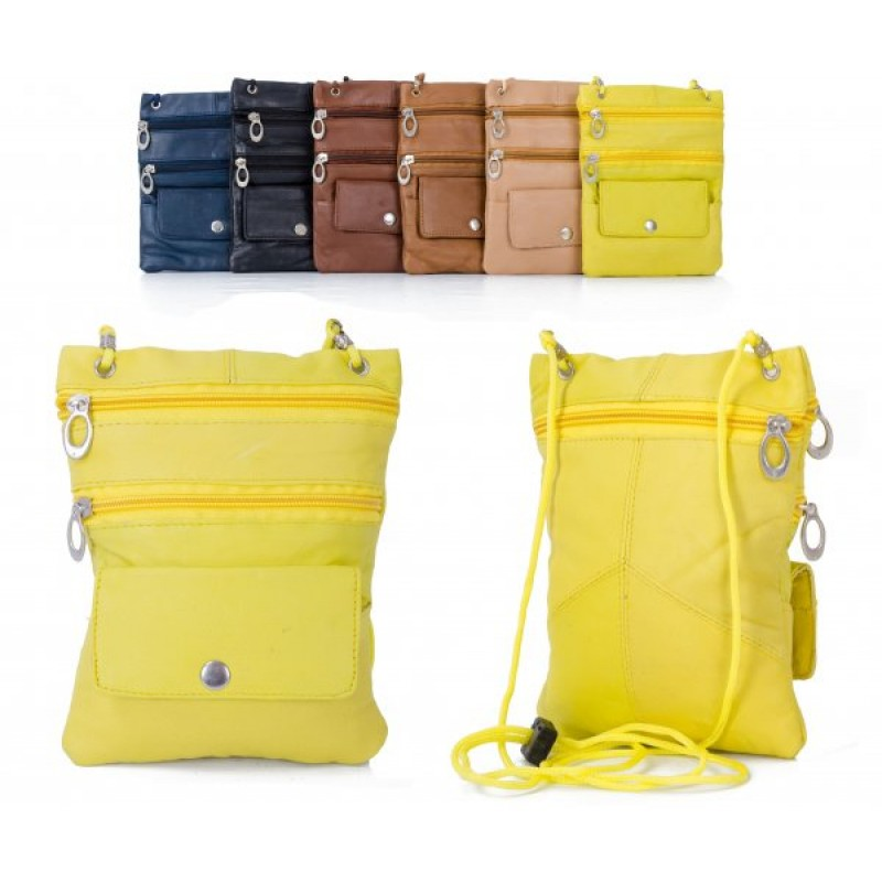 905 YELLOW LEATHER/PU CROSSBAG
