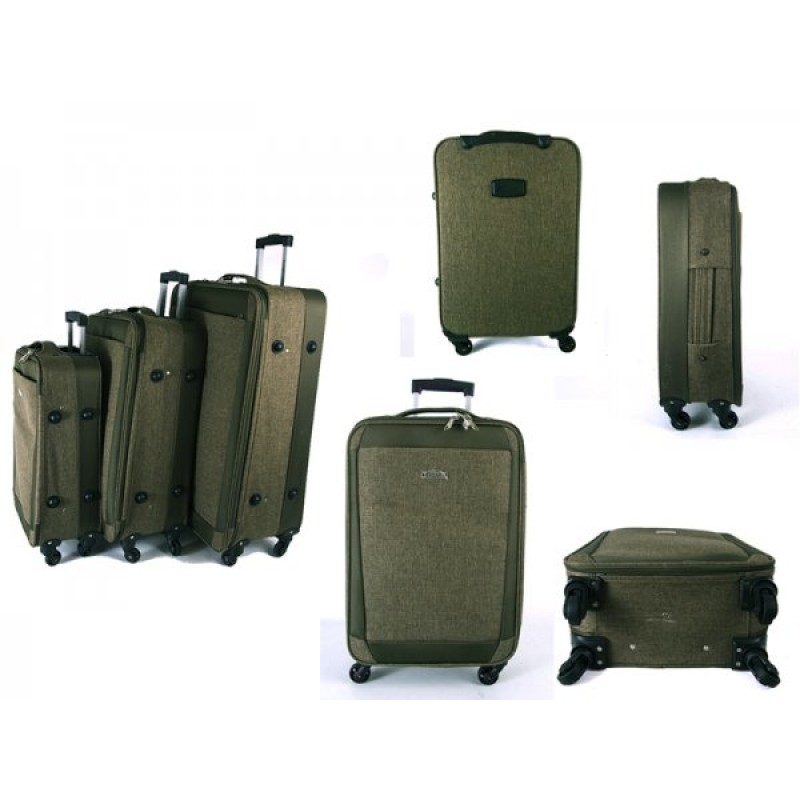 EV-419 GREEN SET OF THREE EVEREST TRAVEL BAGS WITH 360 WHEELS