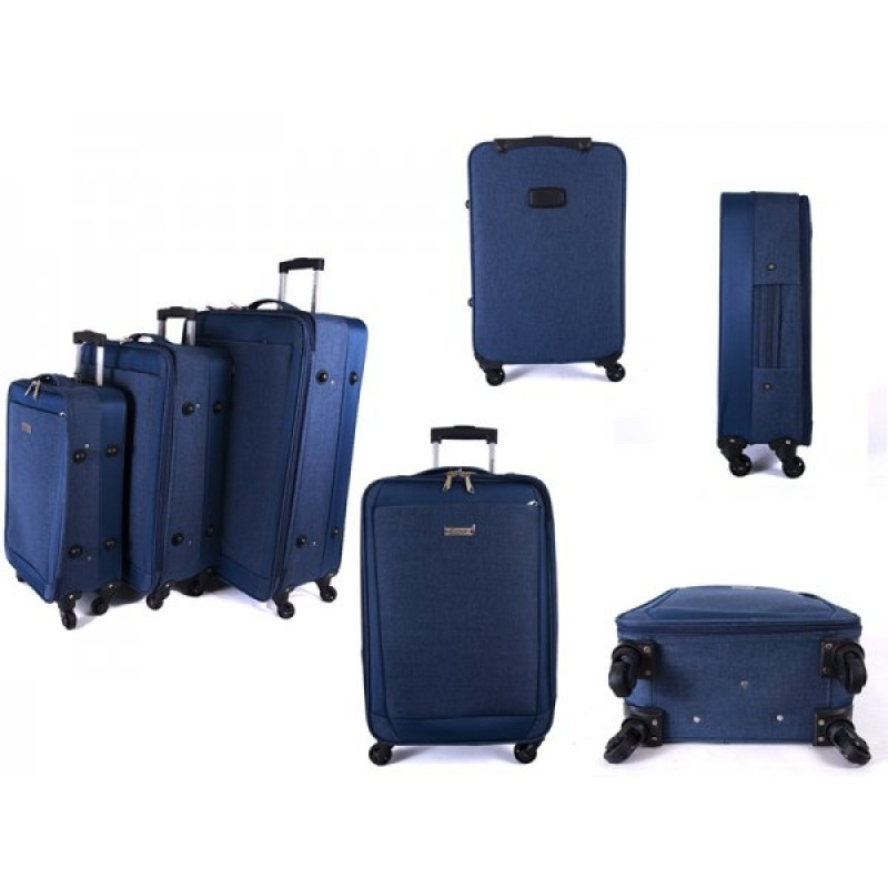 EV-419 BLUE SET OF THREE EVEREST TRAVEL BAGS WITH 360 WHEELS