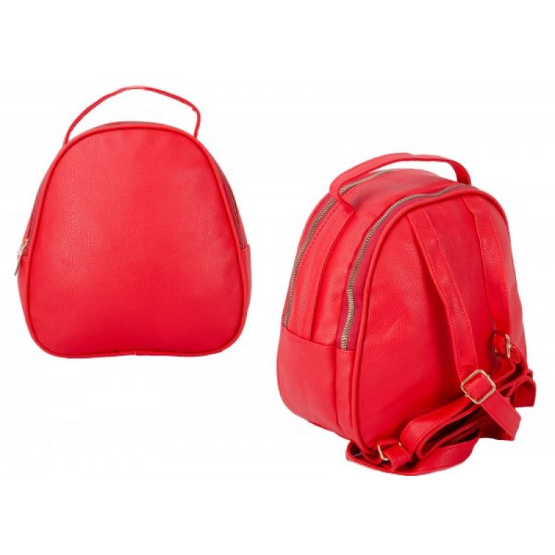 JBFB281 RED PU ROUND BACKPACK W/ 2 COMPARTMENTS