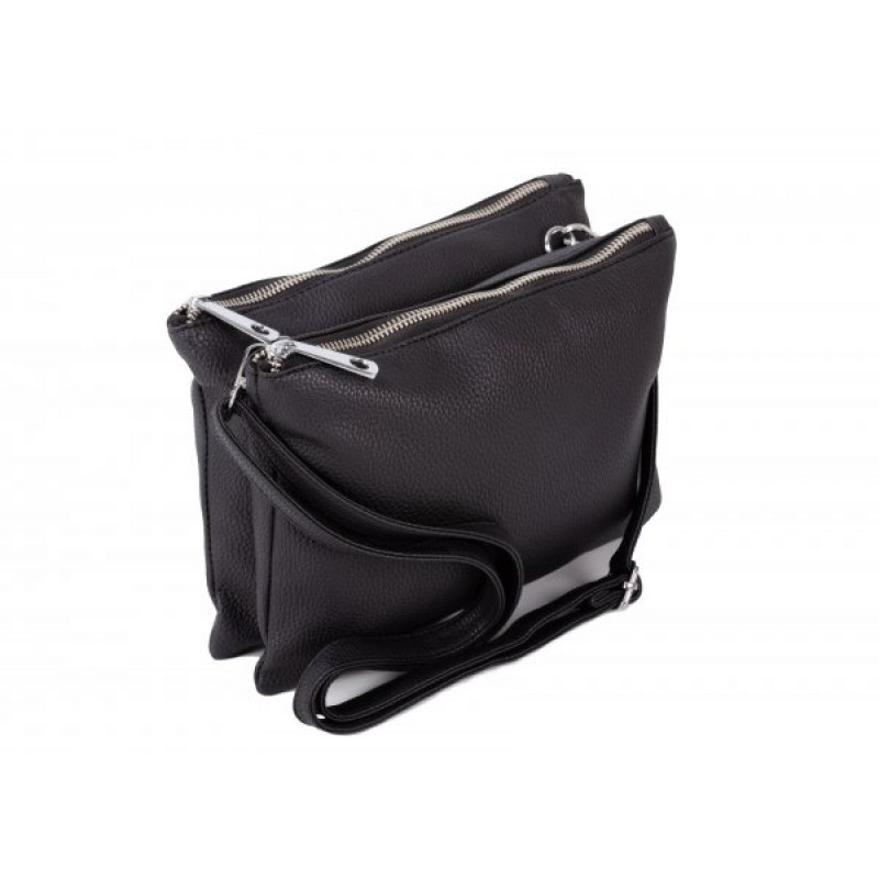 JBFB245 BLACK PU DOUBLE COMPARTMENT CROSSBAG