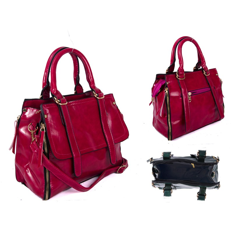 1720e58f3a SUS2 PINK GLOSS PU BAG WITH ZIP DETAILING