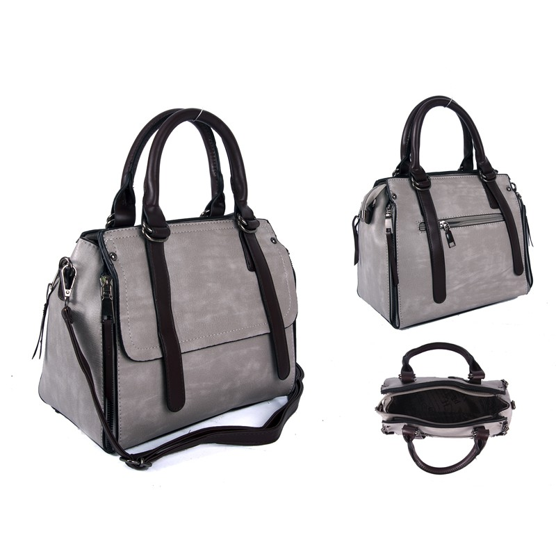 26604f4eb7 SUS3 GREY BROWN PU BOWLING BAG WITH ZIP DETAILING