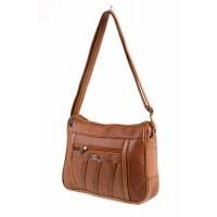 1968  TAN S.NAPPA DBLE TOP ZIP BAG