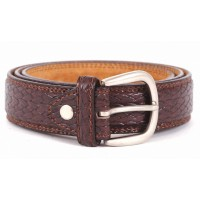 "2725-1.25""BROWN MILANO BELT WITH SNAKE GRAIN"