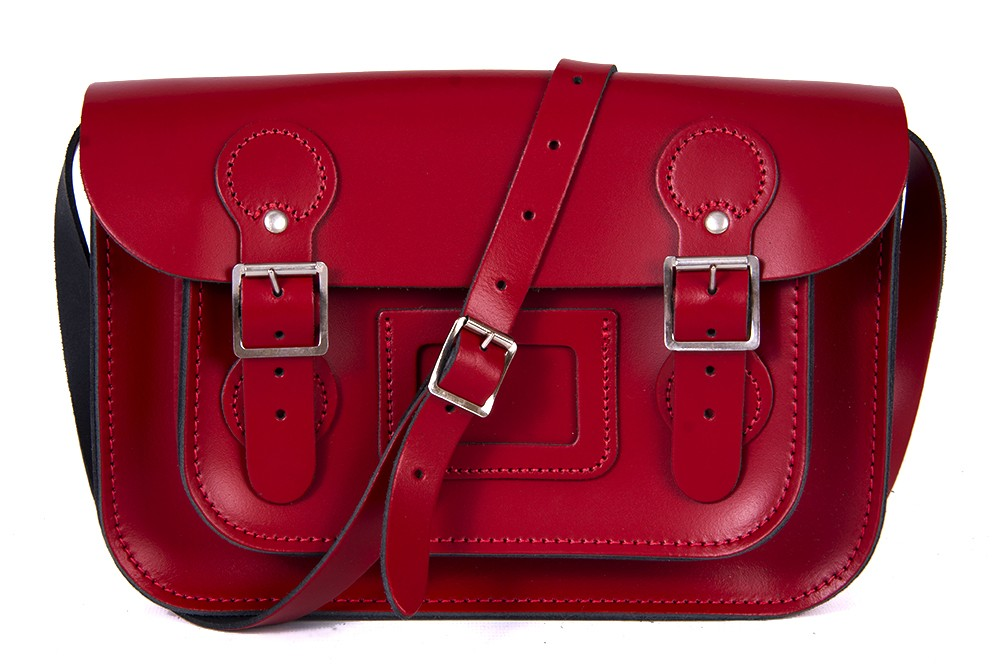 """11"""" Rosy Red Patent English Leather Satchel - Circle Shape"""