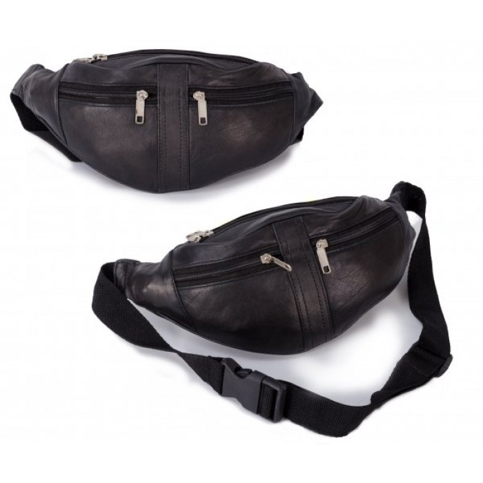 6250 BLACK LEATHER BUMBAG W/ 4 ZIPS