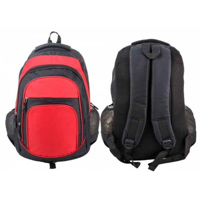 BP105 BLK RED RUCKSACK W/ 4 ZIPS AND 2 NETTED POCKETS