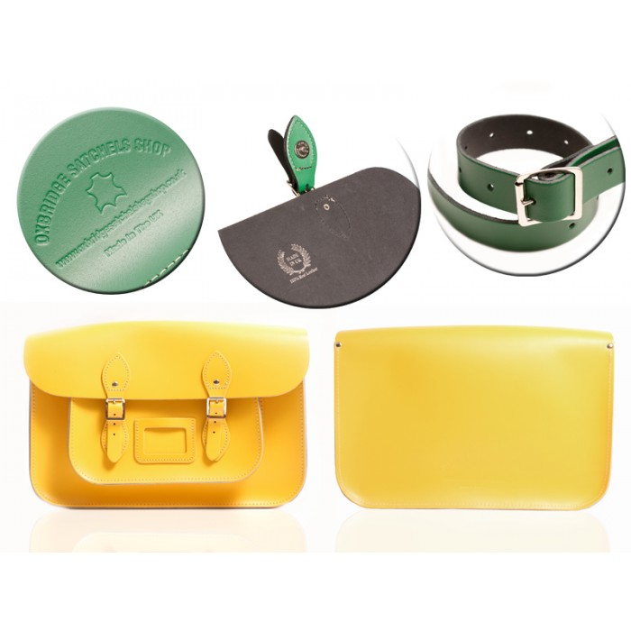 "12"" DOUBLE YELLOW MAGNETIC SATCHEL NO HANDLE"