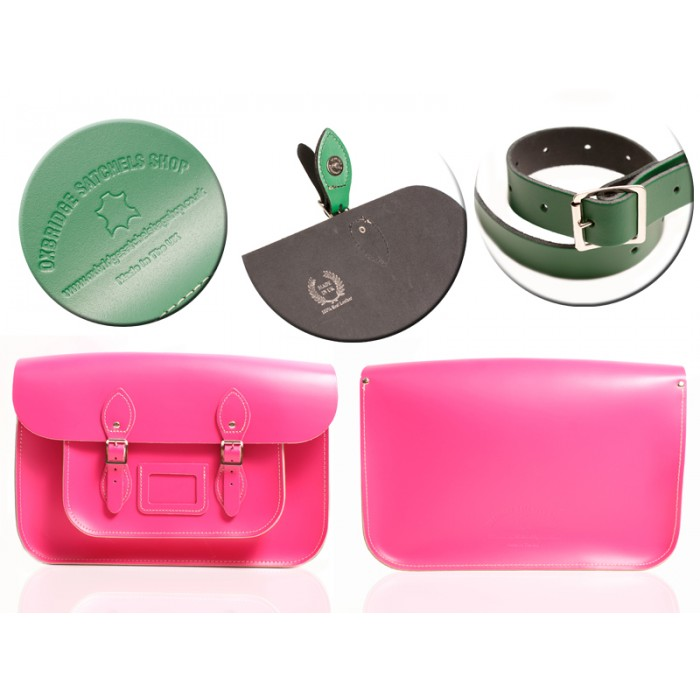 "12"" HOT PINK MAGNETIC SATCHEL NO HANDLE"