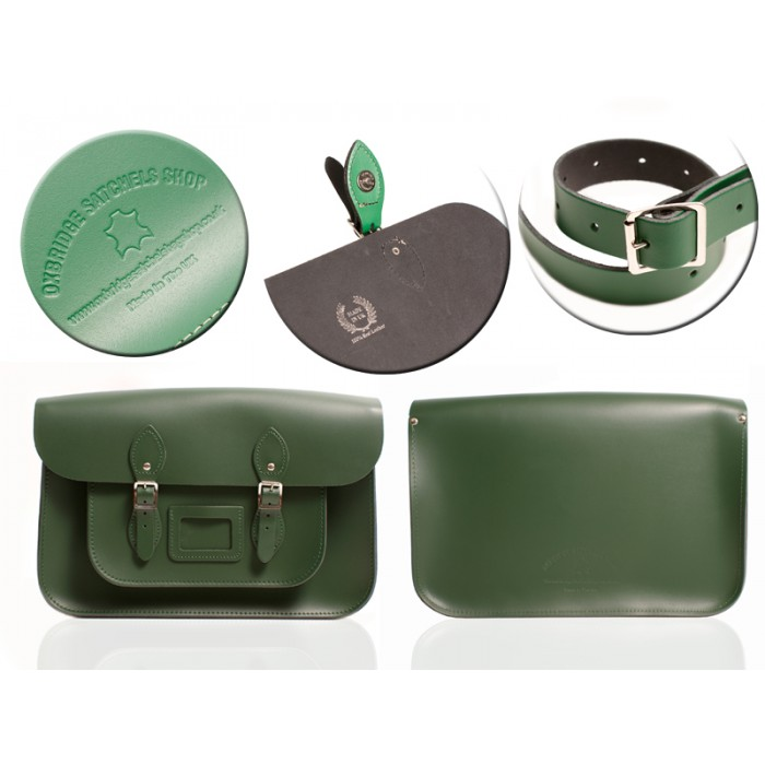 "12"" RACING GREEN MAGNETIC SATCHEL NO HANDLE"