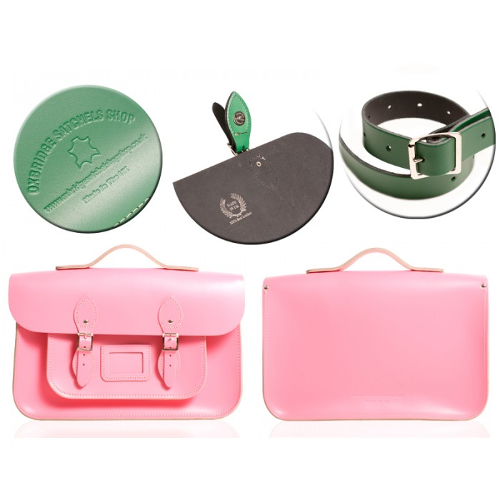 "12"" BABY PINK MAGNETIC SATCHEL W/HANDLE"