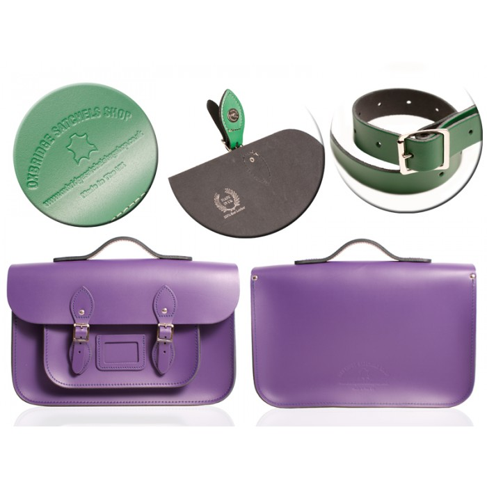 "12"" DEEP PURPLE MAGNETIC SATCHEL W/HANDLE"