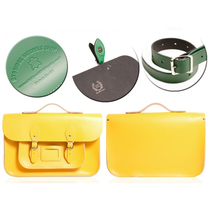 "12"" DOUBLE YELLOW MAGNETIC SATCHEL W/HANDLE"