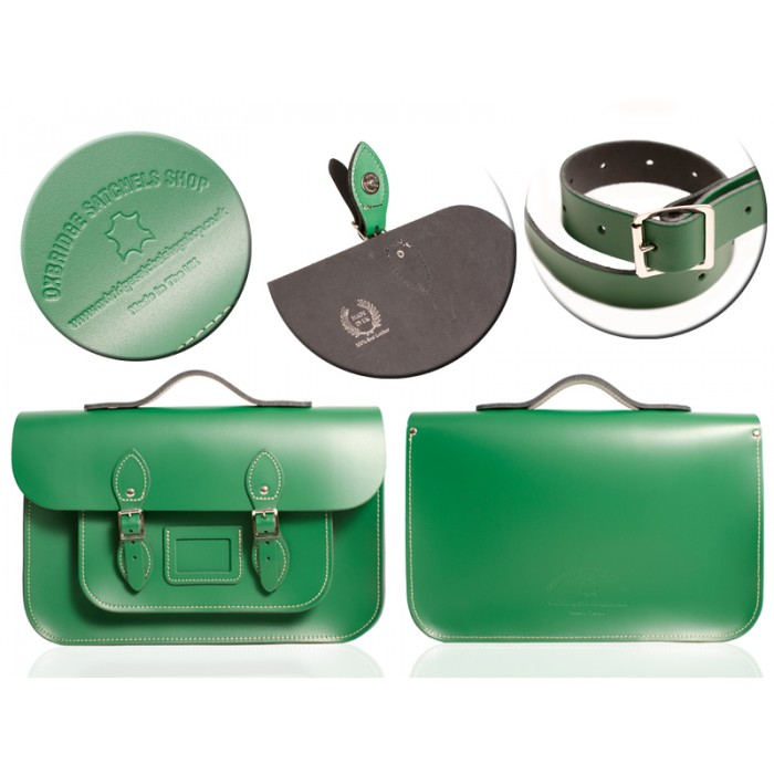 "12"" SHEERWOOD GREEN MAGNETIC SATCHEL W/HANDLE"