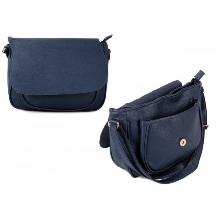 JBFB260 NAVY PU CROSSBAG W/ FLAP & FRONT POCKET