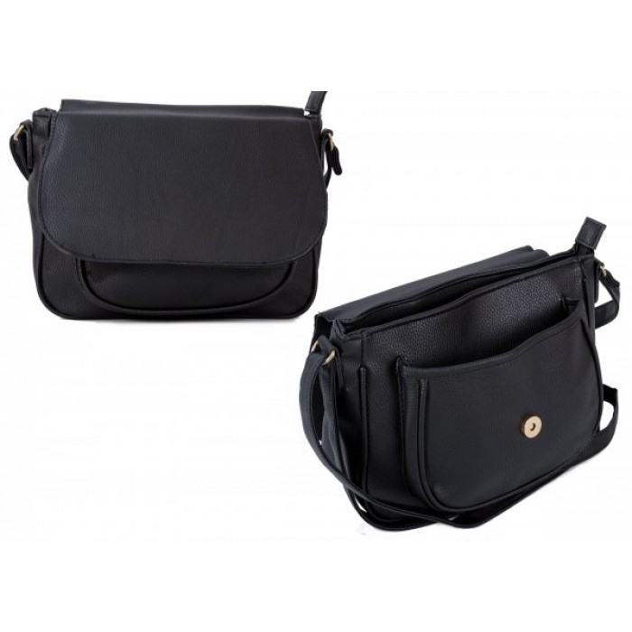 JBFB260 BLACK PU CROSSBAG W/ FLAP & FRONT POCKET