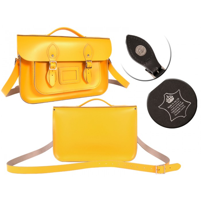 14 DOUBLE YELLOW MAGNET ENGLISH BRIEFCASE SATCHEL