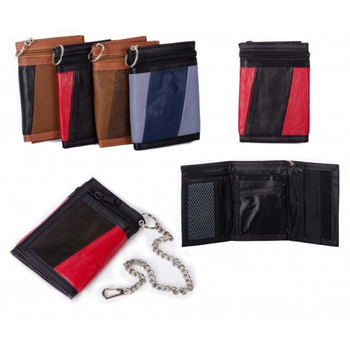 1894 RED MULTI S.NAPPA TRIFOLD WALLET W/CHAIN