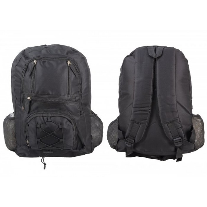 BP101 BLK RUCKSACK W/ 6 ZIPS AND 2 NETTED POCKETS