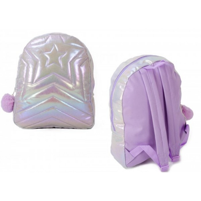 TMC-00110 LILAC & SILVER BACKPACK W/ 1 ZIP & POM POM