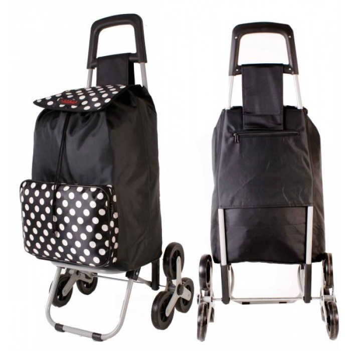 6960 BLACK & POLKA DOT 6 Wheel Stair Climber Shopping Trolley