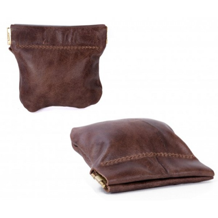 LEATHER SNAP PURSE BROWN