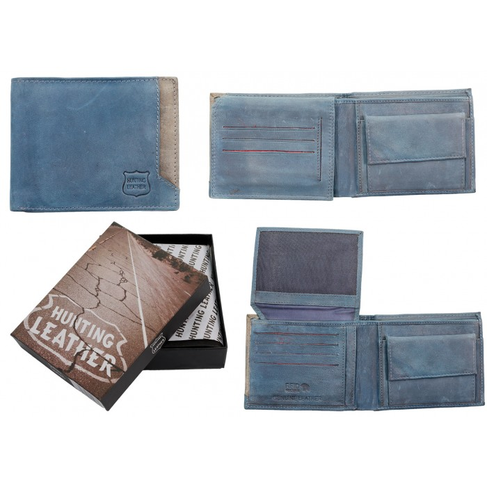 2020 BLUE HUNTING LEATHER WALLET RFID