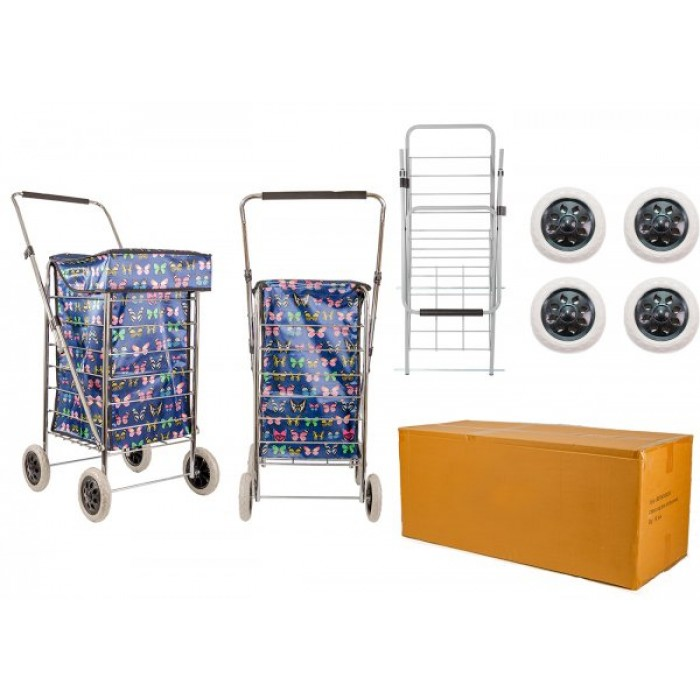 ST-FOUR-01 NAVY BUTTERFLY 4 WHEEL SHOPPING TROLLEY BOX OF 4