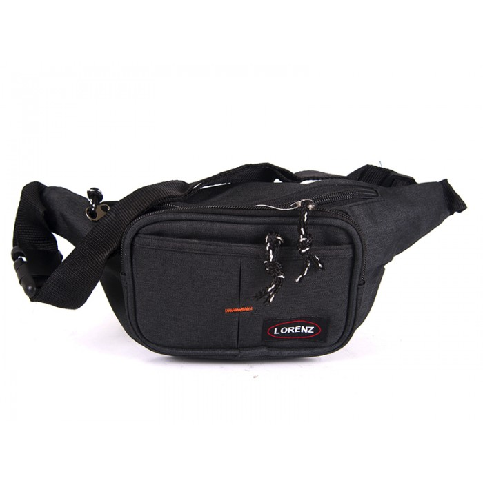 2511 BLACK bumbag with 2 top zips & 2 front zips