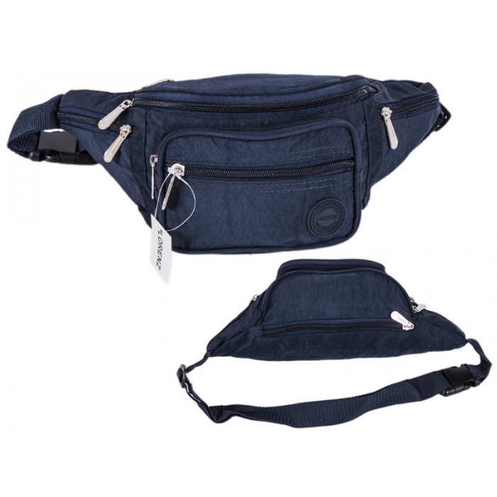 2522 NAVY CRINKLED NYLON BUMBAG WITH 6 ZIP POCKETS