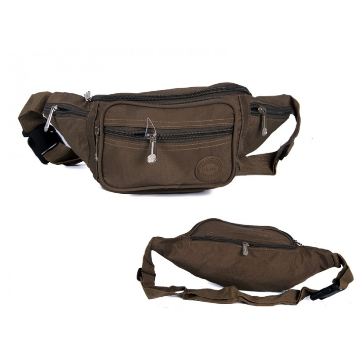 2522 DARK TAUPE CRINKLED NYLON BUMBAG WITH 6 ZIP POCKETS
