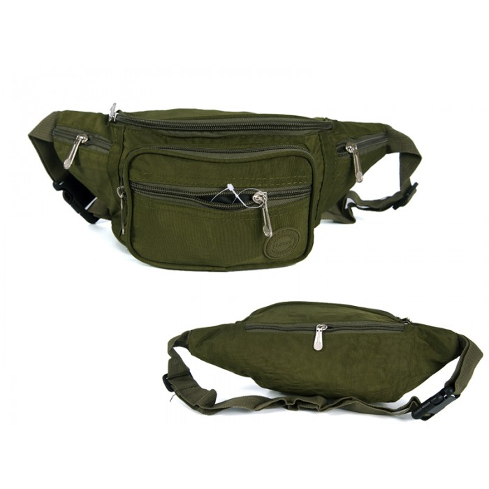 2522 OLIVE GREEN CRINKLED NYLON BUMBAG WITH 6 ZIP POCKETS