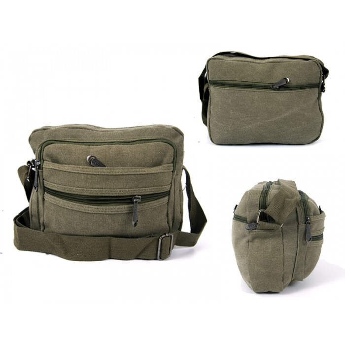2558 ARMY GREEN CANVAS XBODY BAG WITH 5 ZIPS