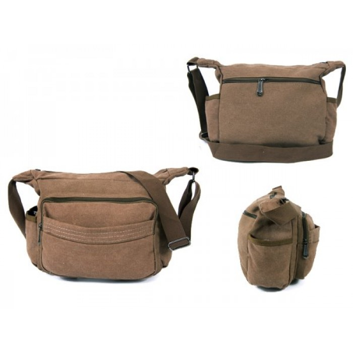 2560 BROWN CANVAS X SHOULDER BAG WITH 5 ZIPS