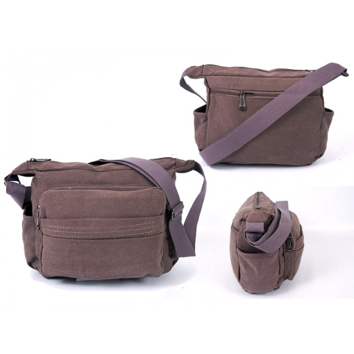 2560 BURGANDY CANVAS X SHOULDER BAG WITH 5 ZIPS