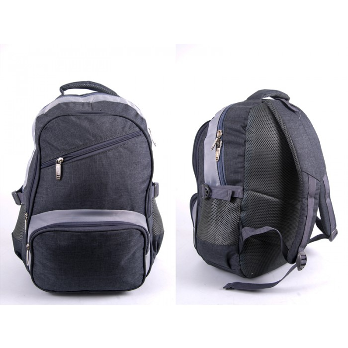 "2596 LIGHT GREY ""DENIUM"" LOOK BACKPACK WITH 4 ZIPS & SIDE POCKET"