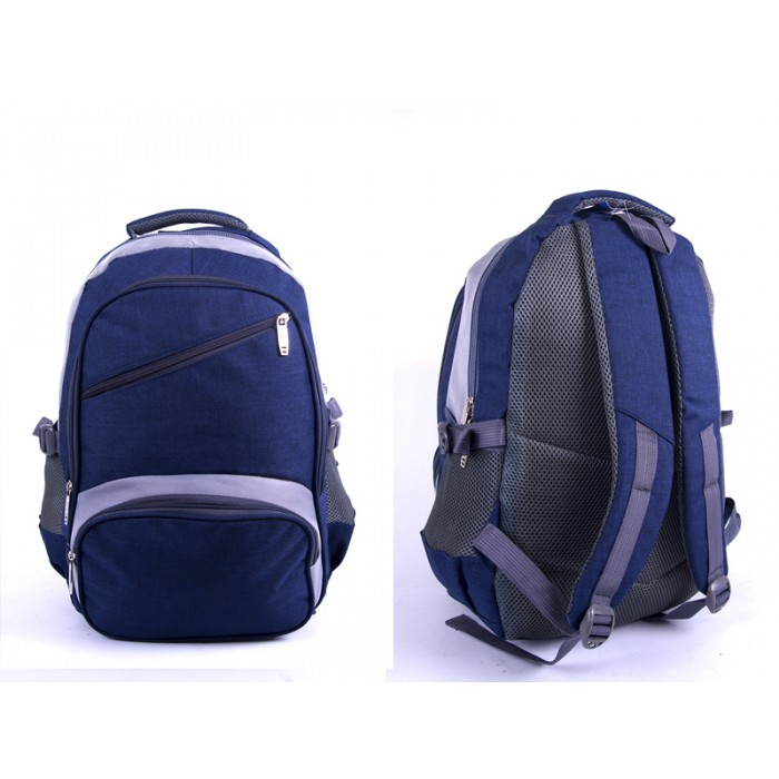 "2596 BLUE/GREY ""DENIUM"" LOOK BACKPACK WITH 4 ZIPS & SIDE POCKET"
