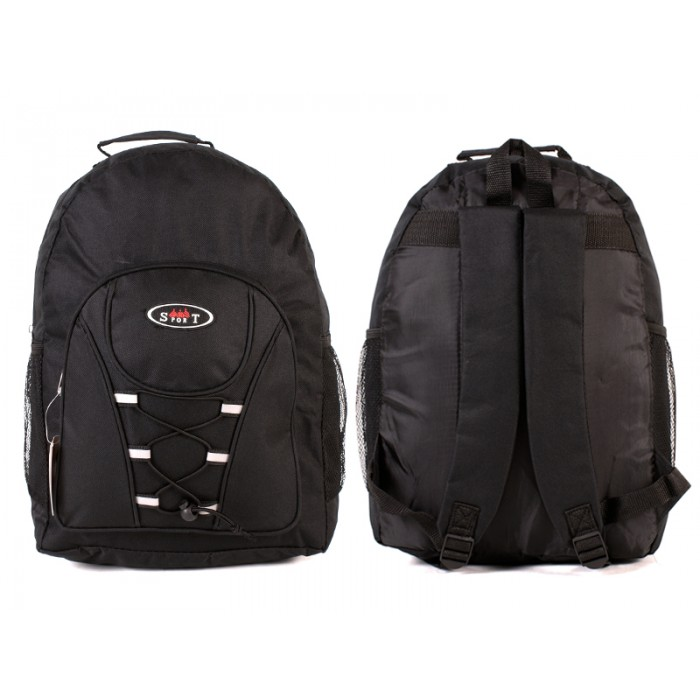 2601 BLACK - BACKPACK WITH TOP ZIP & FRONT ZIP