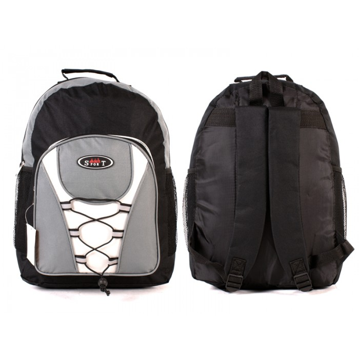 2601 BLACK GREY -BACKPACK WITH TOP ZIP & FRONT ZIP