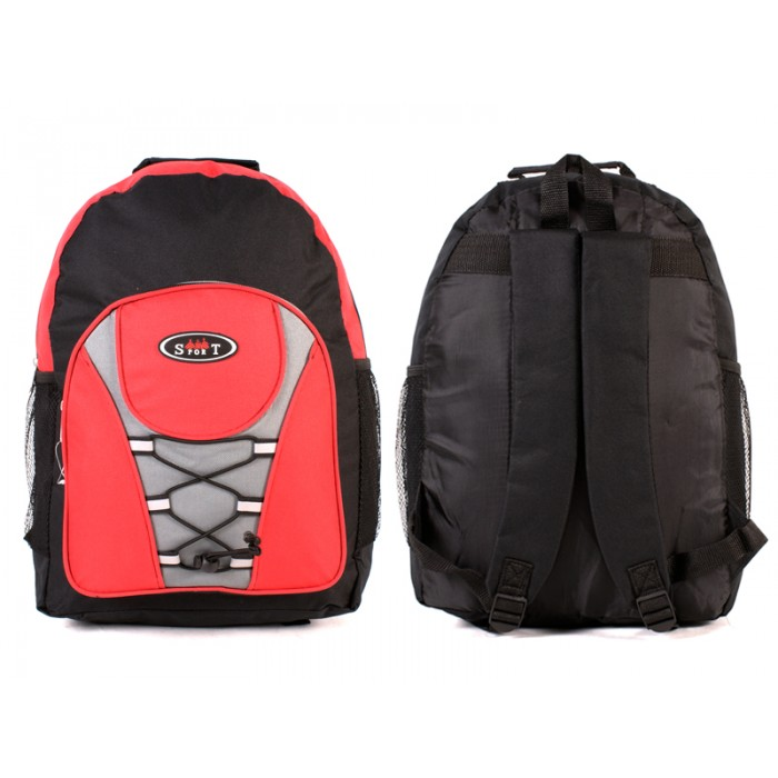 2601 BLACK RED - BACKPACK WITH TOP ZIP & FRONT ZIP