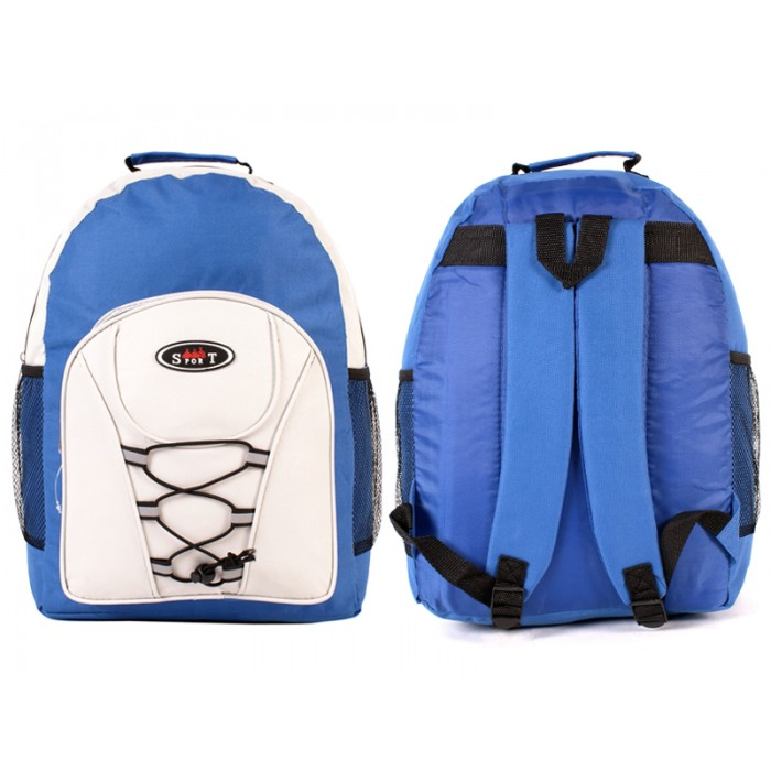 2601 BLUE WHITE - BACKPACK WITH TOP ZIP & FRONT ZIP