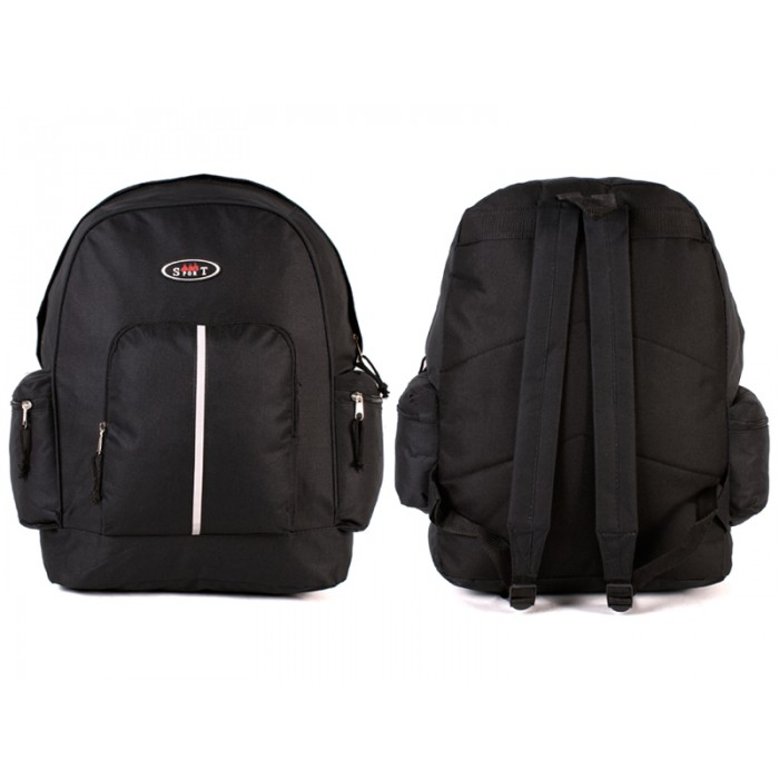 2602 BLACK BACKPACK WITH TOP FRONT & SIDE ZIP