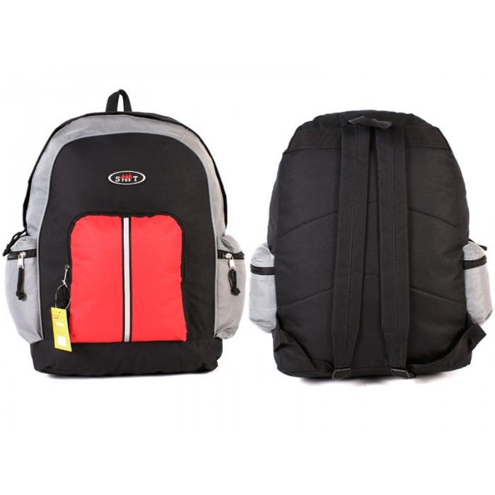 2602 BLACK GREY RED BACKPACK WITH TOP FRONT & SIDE ZIP
