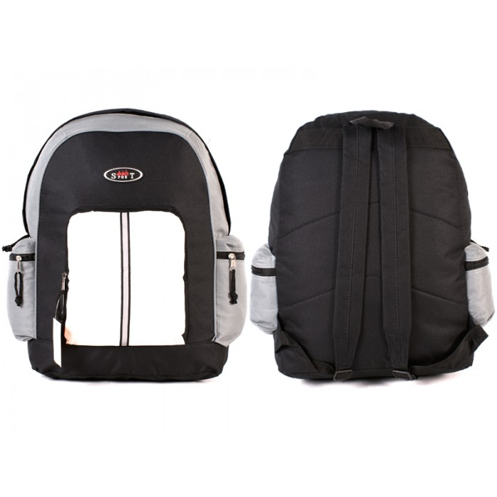 2602 BLACK GREY WHITE BAKCPACK WITH TOP FRONT & SIDE ZIP
