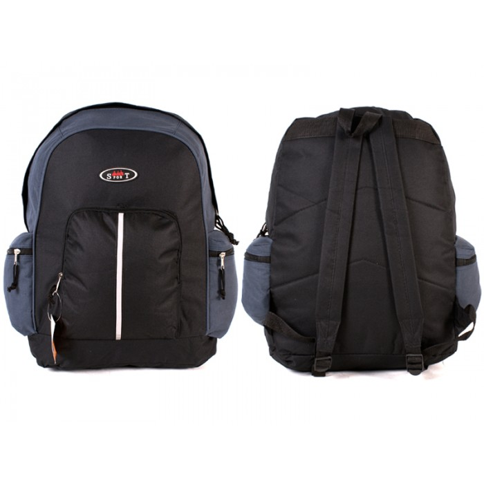 2602 BLACK NAVY BAKCPACK WITH TOP FRONT & SIDE ZIP
